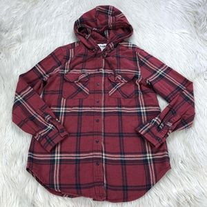 Garage Hooded Boyfriend Fit Flannel Shirt